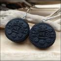 Oreo Cookie Dangle Earrings, polymer clay miniature