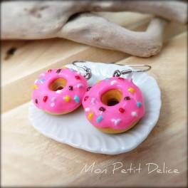 Pendientes Largos Donuts Rosa,  comida en miniatura de fimo