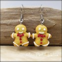 Gingerbread Men Cookies dangle earrings, miniature clay