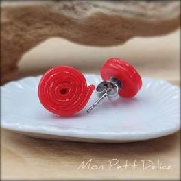Pendientes de Regaliz Rojo, comida en miniatura pasta polimerica