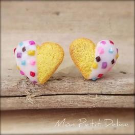Pendientes  galletas de te con forma de corazón
