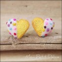 White Tea Heart Cookie Earrings, polymer clay miniature