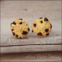 Chocolate Chips Ahoy Cookies Earrings , miniature polymer clay food