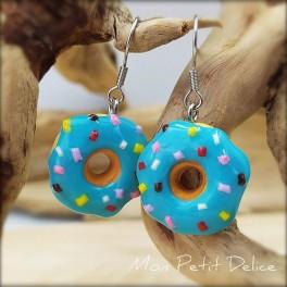 Pendientes Largos Donuts Azul,  comida en miniatura de fimo