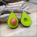 Avocado Dangle Earrings, polymer clay miniature food