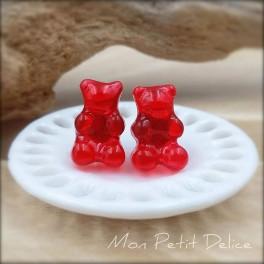 Pendientes de Ositos Gominola Rojo, comida en miniatura