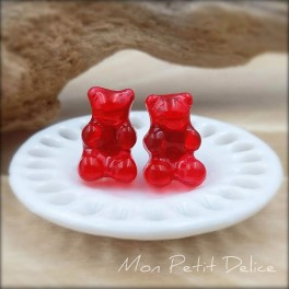 Red Gummy Bear Earrings,  Miniature Food Polymer Clay  Jewelry