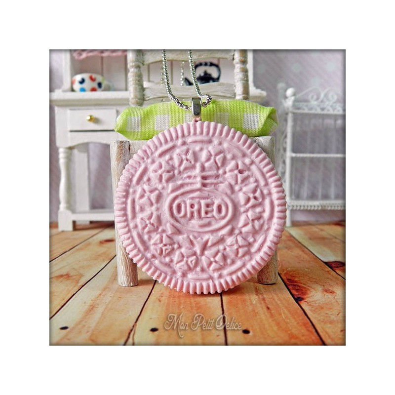 pink oreo cookie necklace pendant
