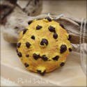 Chocolate Chips Cookie Necklace, polymer clay pendant