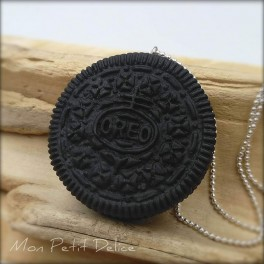 Oreo Cookie Necklace, polymer clay pendant