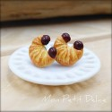 Croissant Earrings, miniature polymer clay food