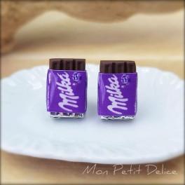 Pendientes de Chocolate Milka, comida en miniatura