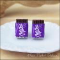 Milka Chocolate stud earrings,  Miniature food polymer clay  Jewelry