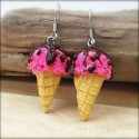 Strawberry Chocolate Chips  Ice Cream Cone Pink Dangle Earrings, polymer clay miniature