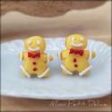 Gingerbread Man Earrings , handmade polymer clay miniature