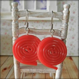 Liquorice Red Spirals Dangle Earrings