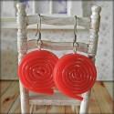 Liquorice Red Spirals Dangle Earrings