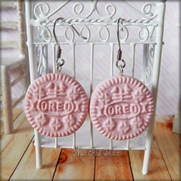 Pink Oreo Dangle Earrings