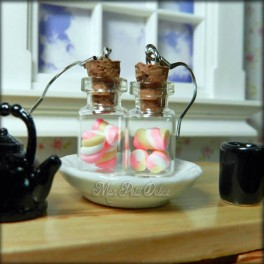 Glass Bottle Earrings With Pink Marshmallows