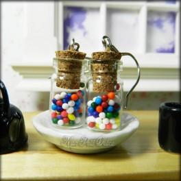 Glass Bottle Earrings With Gumballs