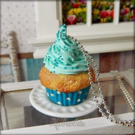 Blue Polkadots Cupcake Necklace, Pendant