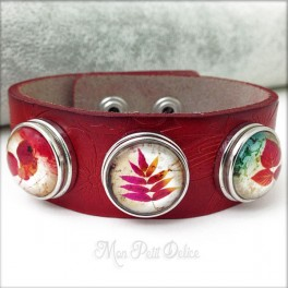 Brazalete, Pulsera de Piel Estilo Noosa 3 botones Colección Floral Botones a presión easy button