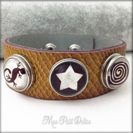 Leather Bracelet Noosa Style 3 buttons Native Collection, Snap button