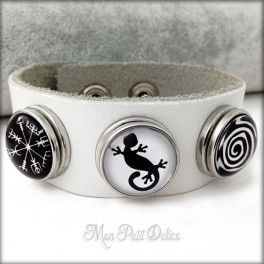 Leather Bracelet Noosa Style 3 buttons Native Snap Button Collection