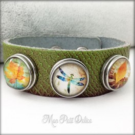 Brazalete, Pulsera de Piel Estilo Noosa 3 botones Colección Libelula Floral Botones a presión easy button
