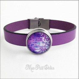Leather Bracelet Purple Floral, Noosa Style 1 Snap Button