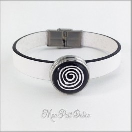 Leather Bracelet Black Spiral, Noosa Style 1 Snap Button