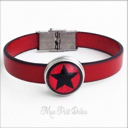 Leather Bracelet Red Star Noosa Style 1 Snap Button