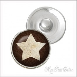 Brown Star Noosa Style Snap Button, chunk glass button