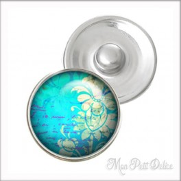 Blue Floral Noosa Style Snap Button, chunk glass button