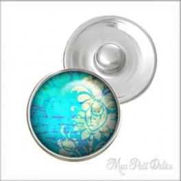 Botón a Presión Floral Azul Estilo Noosa , Botones a presión easy button