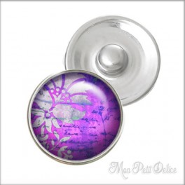 Purple Floral Noosa Style Snap Button, chunk glass button