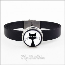 Leather Bracelet Black Cat, Noosa Style 1 Snap Button