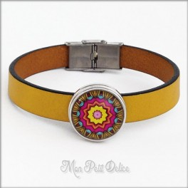 Leather Bracelet Yellow Mandala, Noosa Style 1 Button Snap Button