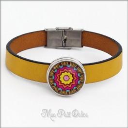 Pulsera de Piel Mandala Amarilla Estilo Noosa 1 Botón, Botones a presión easy button