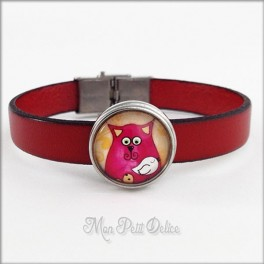 Leather Bracelet Red Cat, Noosa Style 1 Button Snap Button