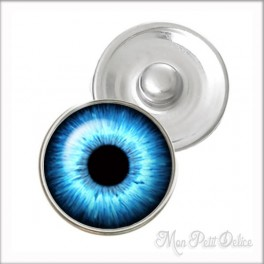 Blue Eye Noosa Style Snap Button, chunk glass button