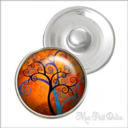 Whimsical Tree Noosa Style Snap Button, chunk glass button