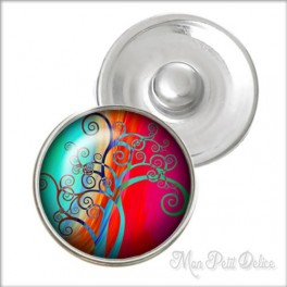 Whimsical Colorful Tree Noosa Style Snap Button, chunk glass button