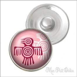 Botón a Presión Pájaro Azteca Rosa Estilo Noosa , Botones a presión easy button