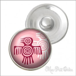 Pink Aztec Bird Noosa Style Snap Button, chunk glass button