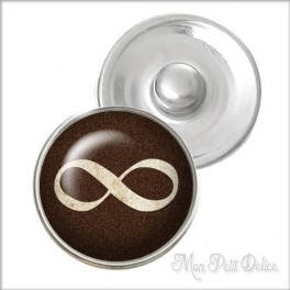 Brown Infinity Noosa Style Snap Button, chunk glass button