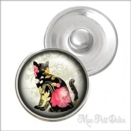 Botón a Presión Gato Floral Vintage Estilo Noosa , Botones a presión easy button