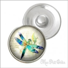Vintage Dragonfly Noosa Style Snap Button, chunk glass button