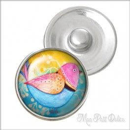 Sweet Bird 02 Noosa Style Snap Button, chunk glass button