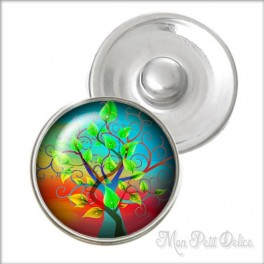 Whimsical Tree of Life Noosa Style Snap Button, chunk glass button